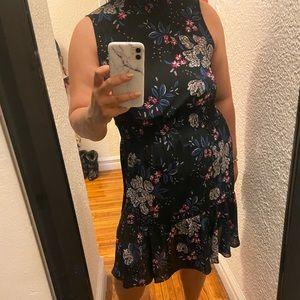 Floral mock neck sleeveless dress